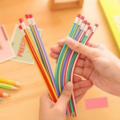 6Pcs Soft Student Pencil with Eraser Colorful Funny Bendy Kids Gift