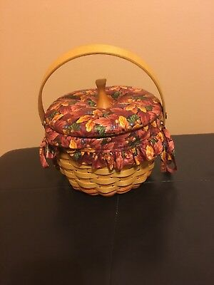 Longaberger 1996 Small Pumpkin Basket w/Fall Foliage Liner/Protector/Padded Lid