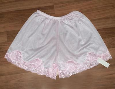 "Vintage style Panties Knickers Pettipants Long 14"" , Pink tricot nylon and Lace"