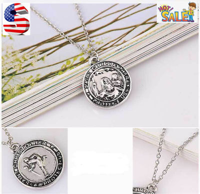 Fashion  925 Sterling Silver Ancient silver Man Protect US Pendant Necklace