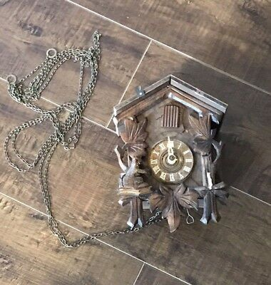 Vintage Cuckoo Clock Wooden Made in Germany Not Working for Parts or Repair