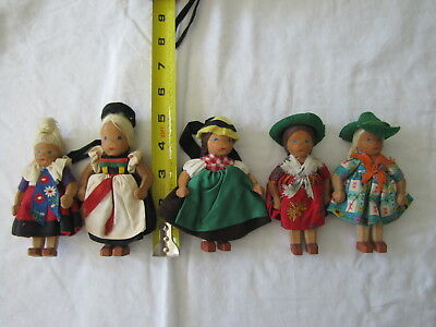 "Lot of Five (5) Vintage German Lotte Siever-Hahn Wooden Dolls ~ 5"" Tall"