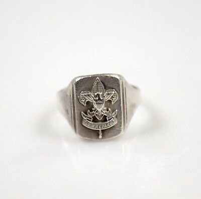 Antique Sterling Silver Lily Of France Eagle Se Preparer French Ring sz 7 5.4 g