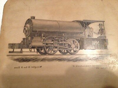 Lithograph Printing Stone - Early 1900's Locomotive