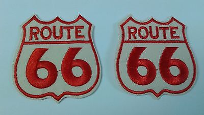"2 pcs Route 66 shield EMB.PATCH 2-1/8""x2-1/8"" IRON/SEW-ON"