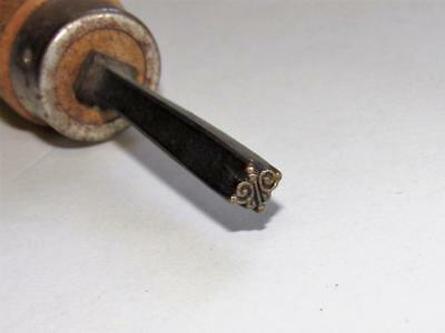 Antique Bookbinding GILDING FINISHING TOOL Small Scroll Gold Leaf Hand Stamp