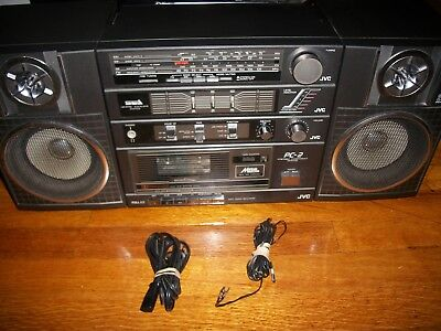 Vintage JVC PC-R2JW ghetto boombox PC-2JW antenna wire & power cord tested work
