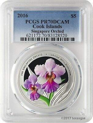 2016 $5 Cook Islands Singapore Orchid Vanda Miss Joaquim Coin PCGS PR70DCAM