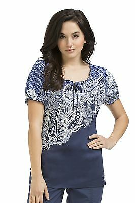 "{XS} Women's Peaches ""Change Of Tides"" Print Scrub Top (4255CHTD)"
