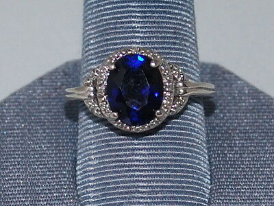 10k White Gold ring with Diamonds and Large Sapphire(September Birthstone)