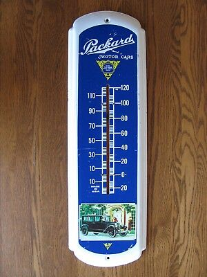 """VTG PACKARD MOTOR CARS Advertising * No - Thermometer Metal SIGN 27"""" x 8"""" USA"""