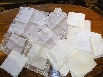 Vintage Lot of 38 White Wedding Lace, Embroidered, CRAFT Handkerchiefs