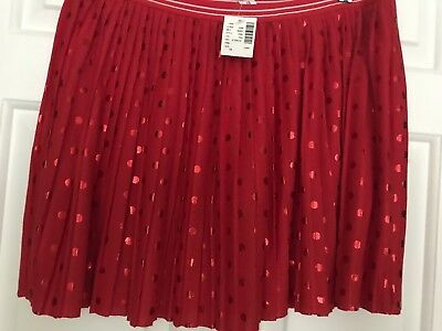 NWT Girls Justice Size 18 Red Pleated Skirt