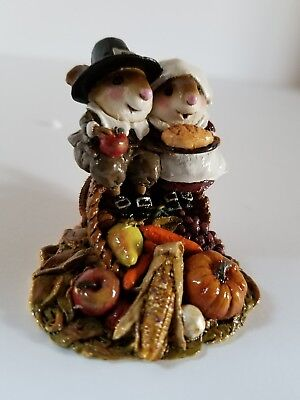 Wee forest folk thanksgiving Pilgrim with wife sitting on a horn of plenty.