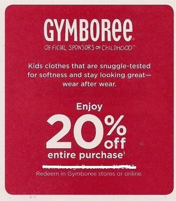 (1) One GYMBOREE 20% off discount – EXP 10/31/2017 – E-Delivery