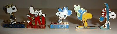 Lot of 5 Peanuts Snoopy Skier Collectible Pins Enamel Winter Sports Beagle