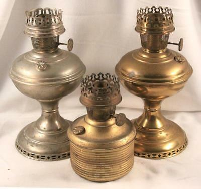 LOT: 3 1915-1916 ALADDIN No.6 Nickel Plated & Brass Oil Lamps Restore or Parts