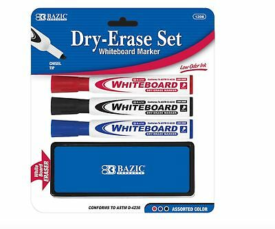 NEW Dry Erase Markers with Eraser - 3 Colors -Only 0.99 Cents Free Shipping