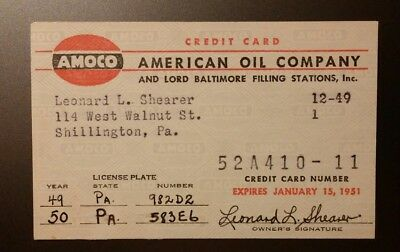 1951 AMOCO American Oil Company Credit Charge Card Obsolete