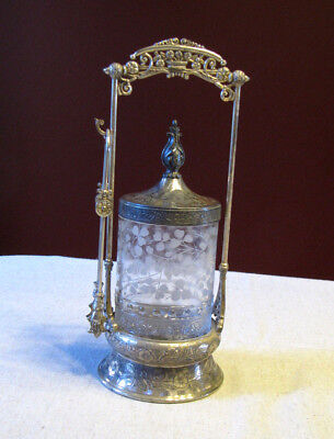 Antique Silverplate Victorian Pickle Castor with Tongs Quad Plate 4611 Wilcox
