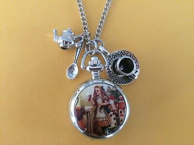 Steampunk Alice in Wonderland Quartz Watch Necklace with Teapot, spoon, Charms