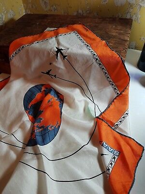 Vintage 50's South African Airways Air Hostess jacqmar silk scarf airplanes