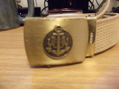 Vintage US NAVY Solid Brass Merit USA Belt Buckle Anchor Lions Military