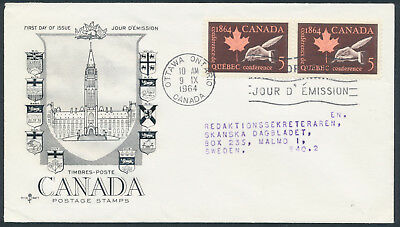 1964 #432 Quebec Conference FDC, CPO Presentation Cachet with Letter, to Sweden