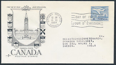 1964 #436 8c Jet Plane FDC, CPO Presentation Cachet with Letter, to Sweden
