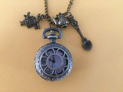 Steampunk Alice in Wonderland Watch on Chain with Rabbit, Teapot & Spoon Charms