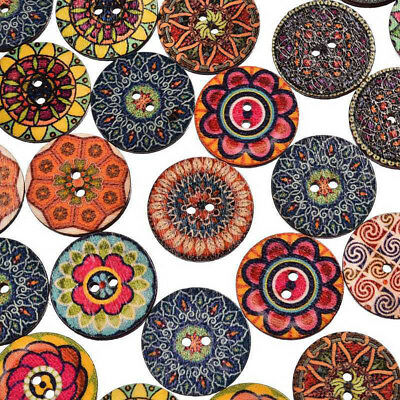 15/20mm Mix Retro Flower Wood Buttons 2 Holes Cloth Sewing Crafts Wooden Notions