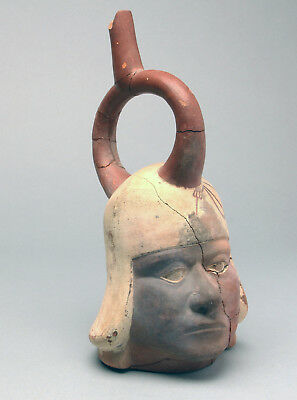 Moche Pre Columbian Warrior's Stirrup Vessel PRICED REDUCED