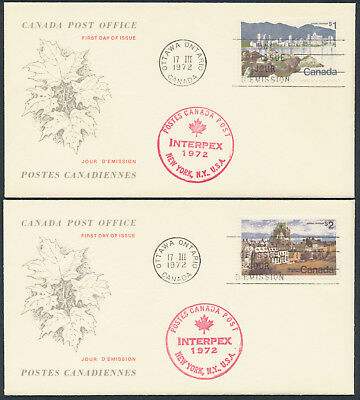 1972 #600-01 $1 and $2 Landscape FDCs, CPO Replacement Cachets