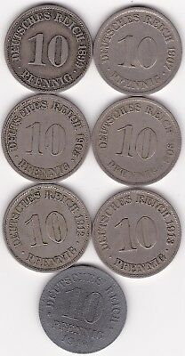 7 Different Coins From Germany  Empire - 1899-1918 10 Pfennig