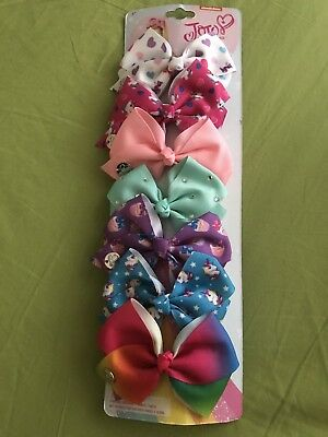 New JoJo Siwa 7 Pack Hair Bow SMALL Dance Moms Rhinestone Rainbow Cheer