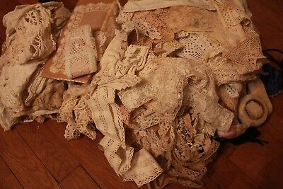 Lot Antique and Vintage Fine Lace Trim Victorian Clothing Remnants As-Is