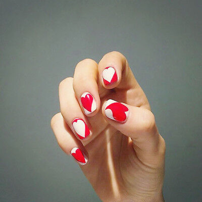 24pcs White Red Heart Artificial Nail Patches Short Full False Nails Art Tips