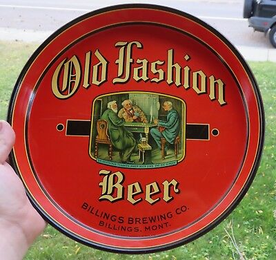 Antique Old Fashion Beer Billings Montana Brewing Company Tray Very Clean