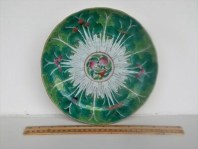 Antique Chinese Export Famille Rose Cabbage Leaf Bok Choy Plate Five Bats 19th C