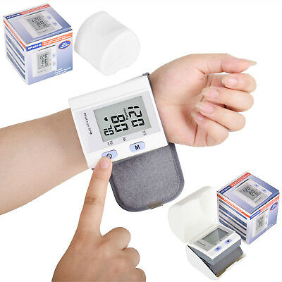 New LCD Digital Wrist Blood Pressure Monitor Heart Beat Rate Pulse Meter Measure