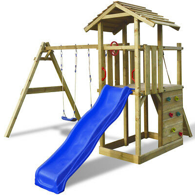 vidaXL Wooden Playset with Ladder/Slide/Swings Kids Children 419x350x266 cm