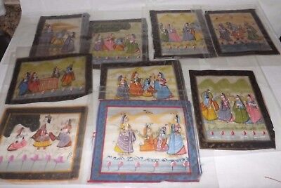 (Group of 16) Asian Indian Handpainted SCENES on Silk Pieces