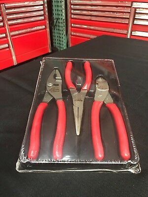 New Snap On PL300CF 3 pc Pliers/Cutters Set No Reserve Free Shipping! RED