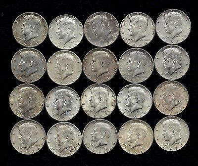 One Roll 1964 Kennedy Half Dollars 90% Silver (20 Coins)   Lot B57