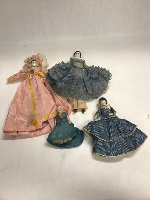 4 pieces  Vintage DOLLS glass face hands feet  China dress female
