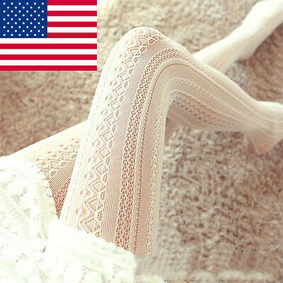 USA Womens Hollow Out Mesh Lace Over Knee Socks Girls Thigh-Highs Hose Stockings