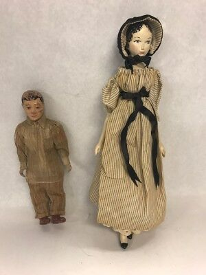Pair Dolls Antique wood jointed body Man 9inch woman 12 inch Painted face