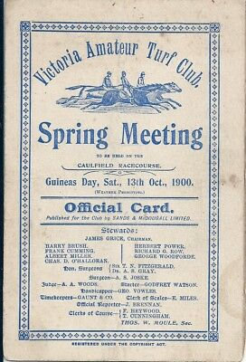 VATC Spring Meeting 1900 - CAULFIELD GUINEAS  DAY (Rare)