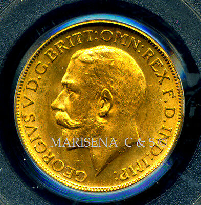 Australia Gv 1915 S Gold Coin Sovereign * Pcgs Certified Genuine Ms 63 Rare Mint