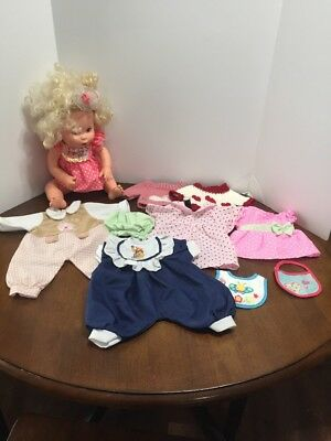 """Lot 1990 Baby Alive 16"""" Doll Blonde Sucks Thumb Soft Face Drinks & Wets Works"""